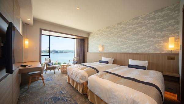 湖側◆ユニバーサルツイン33平米ベッド幅120cm★禁煙