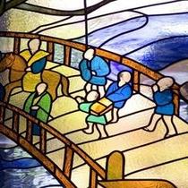 ステンドグラス 加賀の四季を物語風に描いたステンドグラス・・・