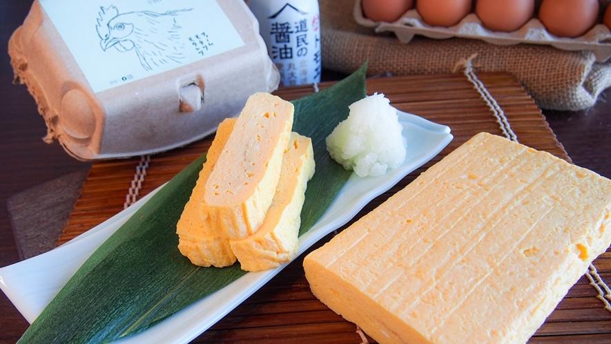 朝食イメージ ~ ファームモチツタモタレツの平飼い有精卵で作るだし巻き卵