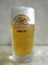 夕食のおともに生ビール