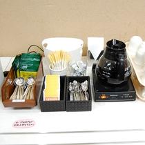 紅茶、カップスープ、オリジナルブレンド珈琲・和洋バイキング台