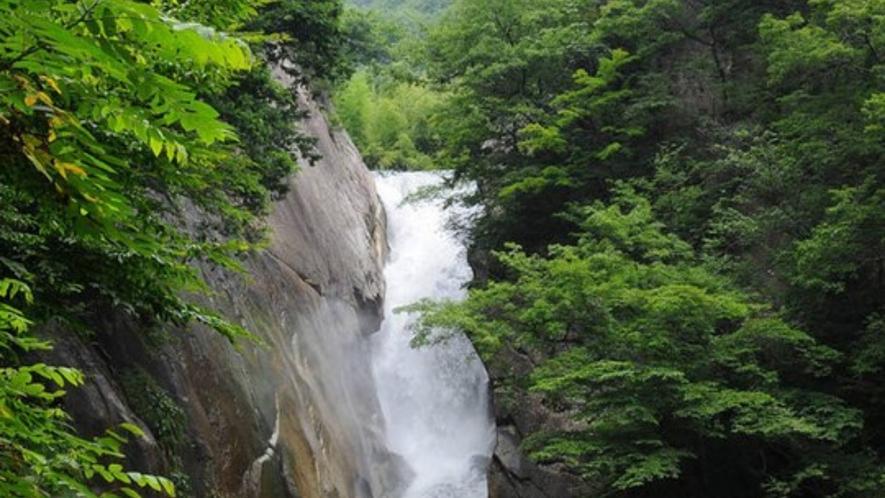 昇仙峡の中にある、仙娥滝の夏の風景です