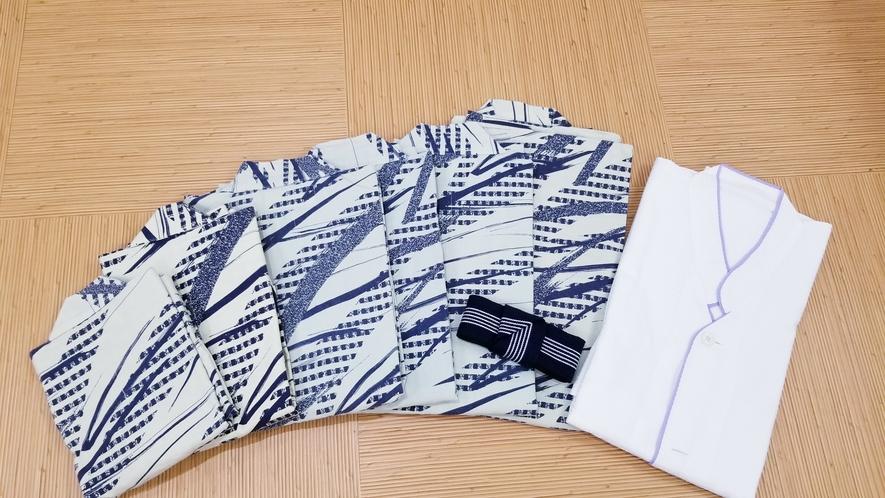【館内着】ガウンと浴衣の2種類ご用意しております。浴衣のサイズは5種類ございます。