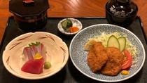 【二味御膳】刺身、天婦羅、一口カツなど6種のおかずからお好きな2品を選べます♪
