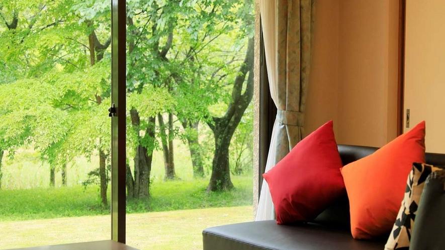 大きな窓からは緑いっぱいの敷地をご覧いただけます