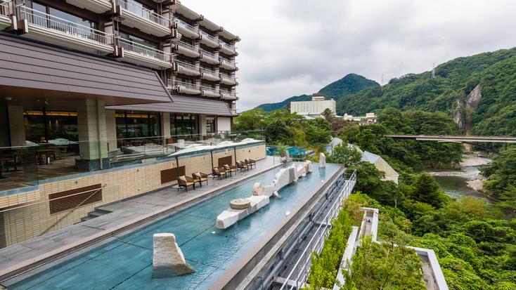 *【おぷーろ(一例)】怒川を眺める、25mのインフィニティプール♪