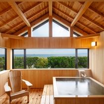 新貸切風呂『東雲』横に大きな窓から見える迫力のオーシャンビュー。