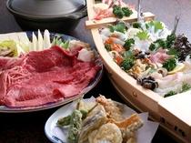 和牛すき焼き・鮮魚の舟盛・天ぷらの3点