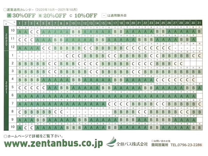 高速バスの割引スケジュール表