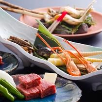 ■当館のスタンダード料理コース『飛騨四季膳』(一例)