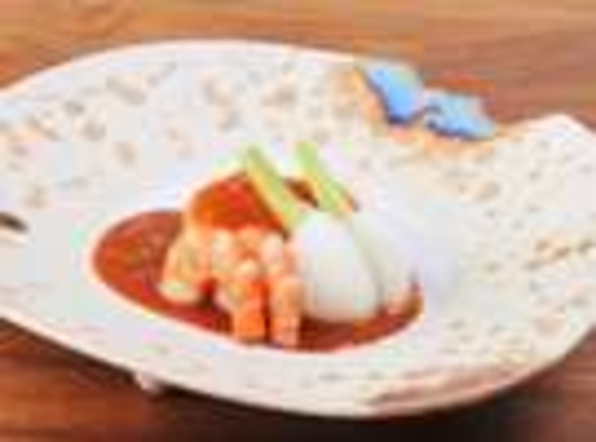 海老と秋野菜の炊き合わせ