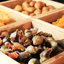 【夕食】みなみ北海道の海の幸や野菜たち