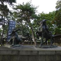【川中島古戦場(八幡原史跡公園)】信玄と謙信の一騎打ちがあった場所です。ホテルから車約5分です。