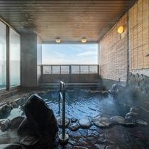 [露天風呂(男性)]松代温泉をひいています。