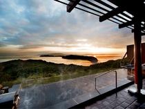 露天風呂からの夕陽の絶景
