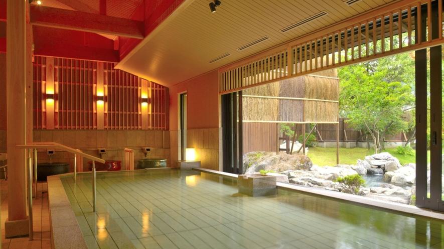 【蛍あかりの湯】日本庭園を望む内湯・男女入替