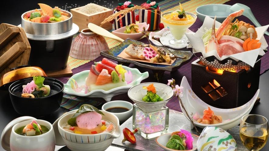 【ご夕食】春/季節のおまかせ会席一例(器や食材は変更になる場合がございます)