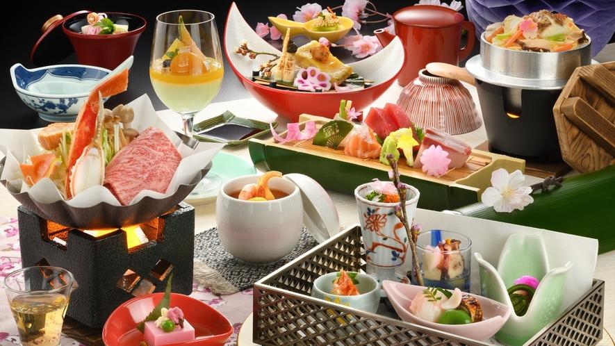 【ご夕食】春/当館一番人気の曲水膳一例(器や食材は変更になる場合がございます)