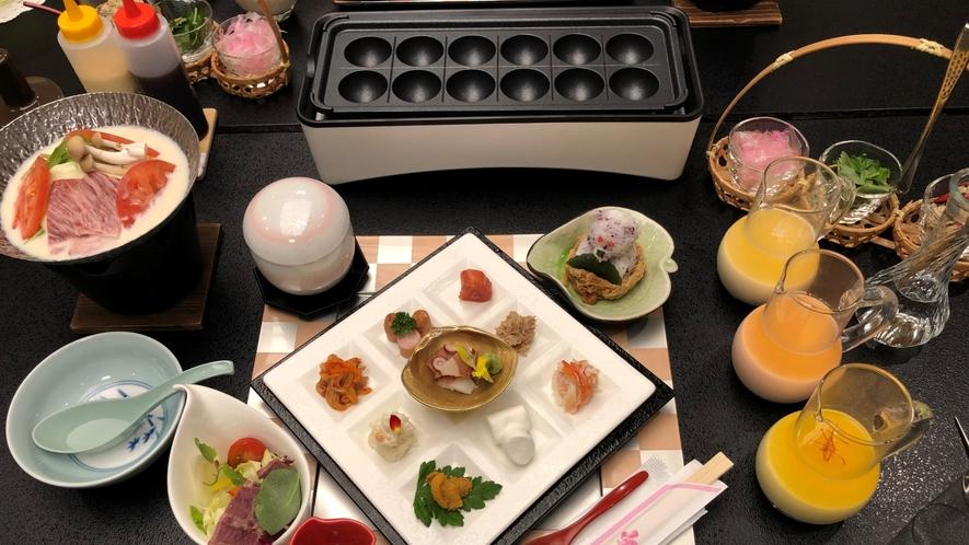 旅館でタコパ!3色の生地&9種の具材が写真に映える♪ちょっぴり贅沢なたこ焼きをお楽しみ下さい