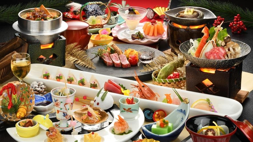 【ご夕食】冬/仙台牛と活あわびの贅沢な★★★らん亭膳一例(器や食材は変更になる場合がございます)
