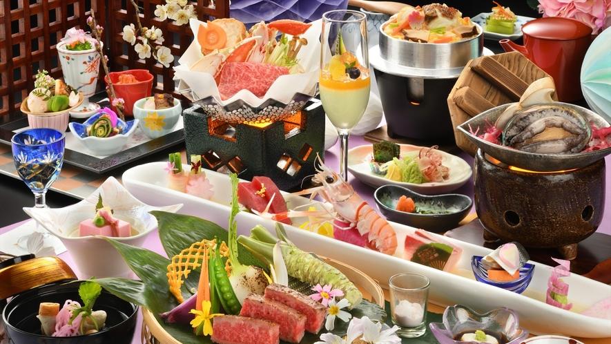 【ご夕食】春/仙台牛と活あわびの贅沢な★★★らん亭膳一例(器や食材は変更になる場合がございます)