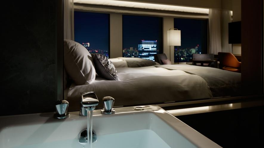 【プレミアグラン・キングもしくはツイン】 ガラス張りで洗い場付のバスルーム
