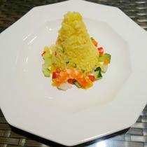【幼児用お子様膳・夕食例】ご飯は、かわいいピラフをご用意します♪