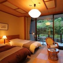 露天風呂付客室『吟龍』べにさらさ 和洋室ベッドルーム