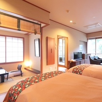 【モダン和洋室】和室6畳+ツインルーム+鬼怒川を望む和洋客室