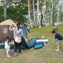 ♦【夏】キャンププランはテント設営からスタート♦