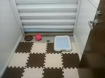 ドッグホテルお部屋(トイレシーツと容器をご用意しております。ドッグホテル前にドッグランがございます)