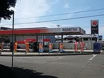 ホテル前のガソリンスタンド
