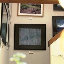 【十輪堂】階段に飾られた作品たち。静かな雰囲気の中でゆっくりと鑑賞して行くのもいいですね