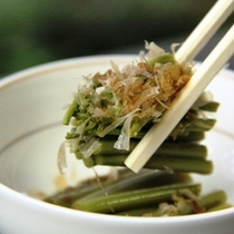 【夕食一例】ワラビのおひたし しょうが風味