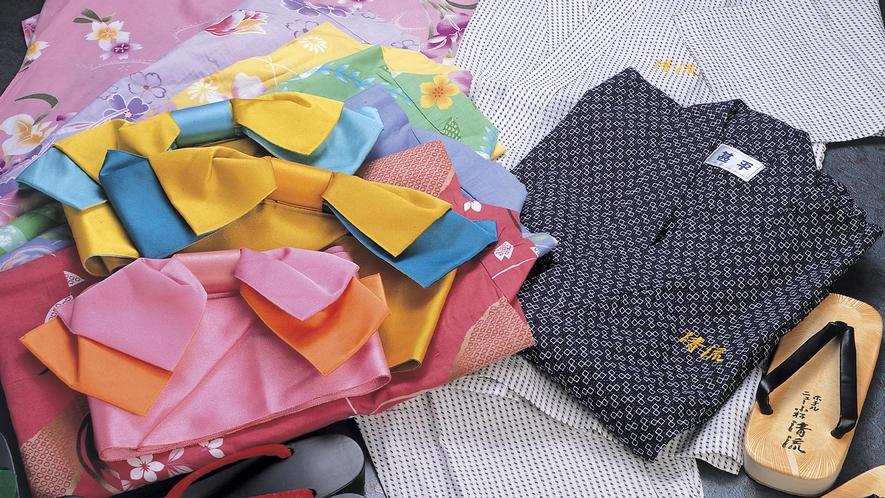 ■女性向けのおしゃれ浴衣が数多く取り揃えてられている。※色浴衣レンタル500円