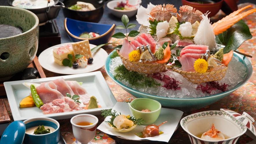 ■素材の彩り豊富な磯の会席料理(夕食の一例)