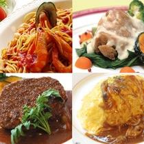 夕食チョイス(洋食)の一例。約25種類の和洋メニューからお選び下さい。