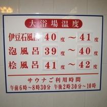 湯船の温度(当日の気温その他で調整管理)