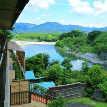 【景色】2階から眺める荒川の風景