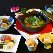 冬の会席料理一例。