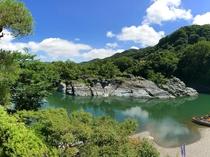 当館より望む長瀞渓谷・岩畳パノラマ(夏・左)