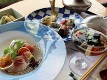 夏のご夕食会席料理イメージ。