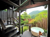 魅力はなんと言っても露天風呂!お客様だけの空間で、都会の喧騒を忘れ長瀞渓谷をゆっくり堪能♪