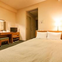 シングル洋室二人利用(セミダブルベット、広さ約11平方メートル)