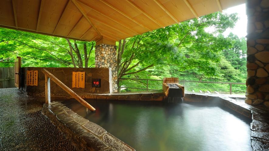 川の湯「腰掛湯」 ※豊沢川を眺めながら、深さ90cmの水深で腰をかけて入れます