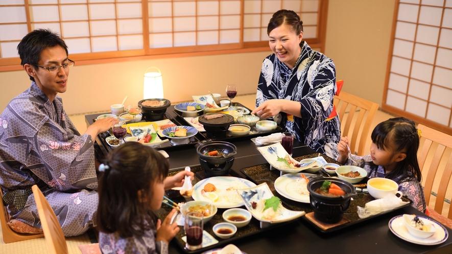 和膳スタイル・お部屋食 ※家族水入らずで周囲を気にせず、ご夕食をお楽しみください