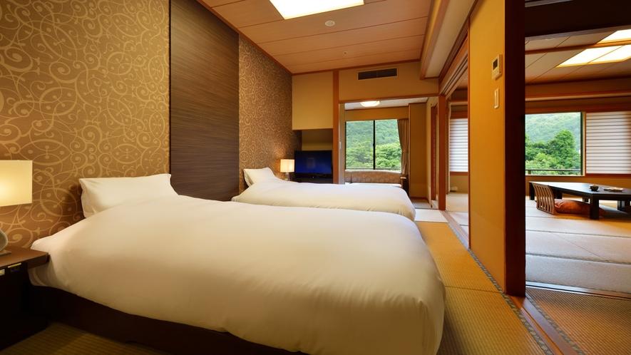 花かんむり二間ベッド付(禁煙)  ※12.5畳の和室と次の間にベッドを備え付けた広々としたお部屋です