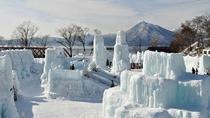 ◆氷濤まつり(写真は昨年の様子)/支笏湖の水で造られた氷のオブジェは、綺麗な支笏湖ブルー!