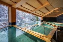 黒部・宇奈月温泉やまのは 冬の棚湯からの景色です