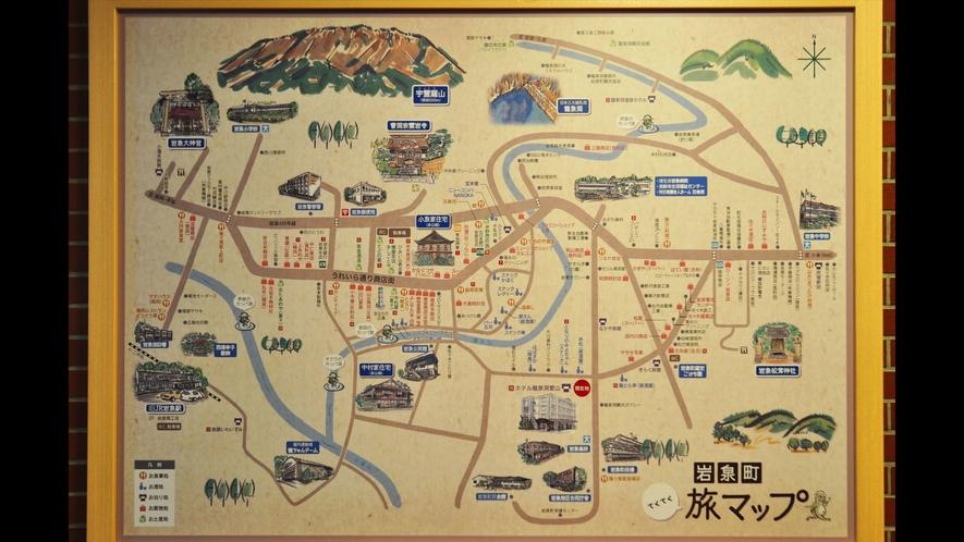 【フロント・ロビー】岩泉町の観光スポットのマップが掲げてあります。